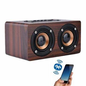 Wireless Bluetooth Speaker Portable HiFi Shock Bass Wooden Smartphone Soundbar