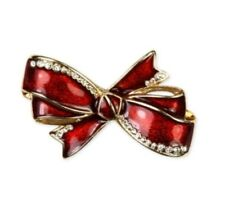 Gold-Tone Red Jeweled Bow Pin #C226 Jones New York Christmas Jewelry - Holiday