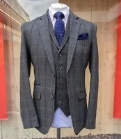 MENS GREY WOOLEN 3 PIECE TWEED SUIT MIX & MATCH JACKET WAISTCOAT TROUSERS