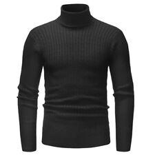 US Winter Men Slim Warm Knit High Neck Pullover Jumper Sweater Turtleneck Solid