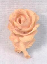 Vintage Carved Rose Pin Off White Jewelry Ossified A Beauty