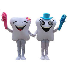 2019 New Smiling Tooth Dentist Mascot Costume Adult Fancy Party Dress Free Ship