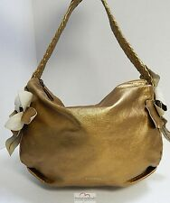 Desmo Italy Brassy Gold Leather Slouch Hobo Shoulder Bag