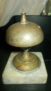 Vintage Hotel Service Brass Desk Bell on Marble