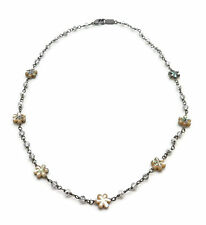"CHAN LUU Shell White & Black Flower Crystal Bead Gunmetal Choker Necklace 17"""