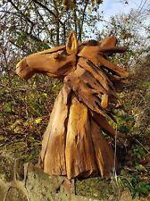 Horse Head Solid TEAK detriti Hore capo STATUA assolutamente sorprendente 87cm High