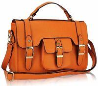 Ladies Leather Style Satchel Saddle iPad Bag Women Massenger Crossbody Handbag