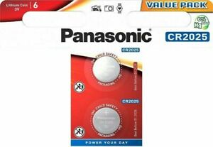 2 x Panasonic® CR2025 3V Lithium Coin Cell Button Battery DL/BR 2025 Expiry 2028
