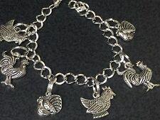 """Farm Birds Chicken Turkey Rooster Charm Tibetan Silver Bracelet 8"""" BIN"""
