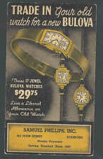 Ca 1936 Bulova Watches At $29.75 Less Trade In Stamford Ct Mint On Postal Card