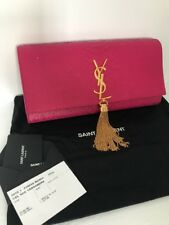 YSL YVES SAINT LAURENT Pink Python Leather Monogram Handbag Clutch Tassel ❤️❤️❤️