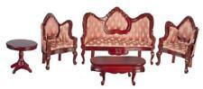 Dolls House Victorian Mahogany & Rose Miniature Living Room Furniture Set