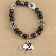 Hamsa Hand of God Fatima Protective Evil Eye Elephant Charm Bangle Black Beads