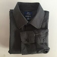 George Mens Small 34-36 Black and Grey Pinstripe Dress Shirt