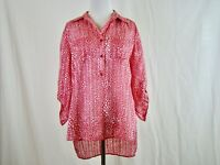 Chico's Women's Pink White Three Quarter Sleeve Sheer Blouse Top - Size 0