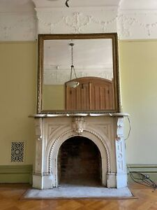 Large Antique Gilt Over Mantle Mirror
