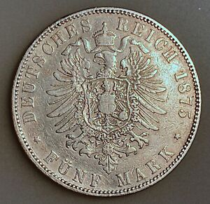German States SAXONY-ALBERTINE 5 Mark 1875 E     KM# 1237   VF