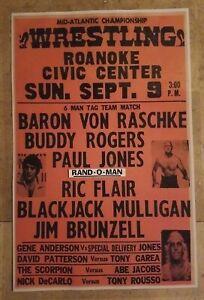 Mid-Atlantic Wrestling Poster Six Man Tag With Ric Flair, Blackjack Mulligan