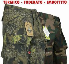 Pantaloni tasconi militare vegetato mimetico cotone foderato tipo cargo Caccia