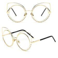 Designer Large Rhinestones Cat Eye Flat Mirrored Retro Women Fashion Sunglasses