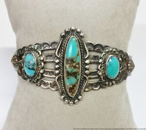 Amazing Old Pawn Silver Cat Arrows Native American Turquoise Cuff Bracelet
