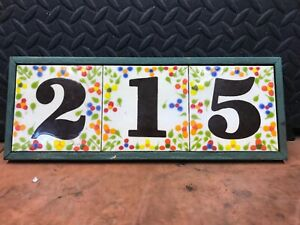 215 Vintage Ceramic Tile House Number Address Plaque