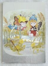Vintage The Butterfly Children Dufex Postcard DC and Chrissie by the River