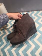 """Dr. Scholls Bethany Gray Wedge 3.5"""" Lace Ankle Boots 10 Suede Leather $95"""