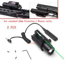 2Pcs Tactical Flashlight Green Laser Sight Combo for 20mm Weaver Rail Shotgun AR