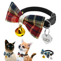 Small Dog Bow Tie Collar &Anti-lost Tag Engraved Pet Puppy Cat Necktie with Bell