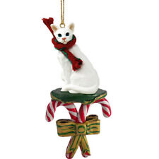 White Oriental Shorthaired Cat Candy Cane Ornament