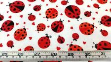 COTTON FLANNEL LADYBUGS RED WHITE QUILT FABRIC
