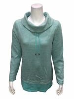 Denim & Co. Active Heather Grey Striped Waffle Knit Pullover Top Small Size