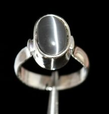 22.40 Ct IGL Certified Oval Natural Gray Cat's Eye Gemstone Sterling Silver Ring