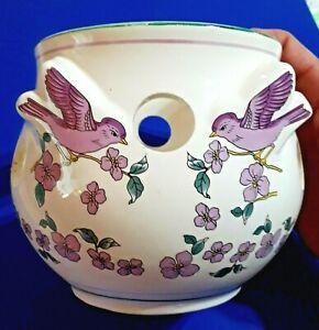 "Ceramic Flower Pot Planter Purple Birds & Purple Flowers 4.75"" x 5.5"""