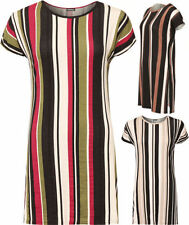 Viscose Short Sleeve Machine Washable Striped T-Shirts for Women