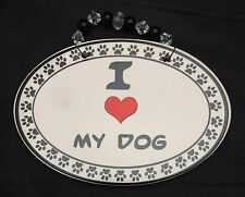 I Love Heart My Dog Ceramic Oval Sign Plaque Doggy Paw Prints