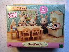 Calico Critters Dining Room Set Over 15 PIECES! and Seats 5 Critters!