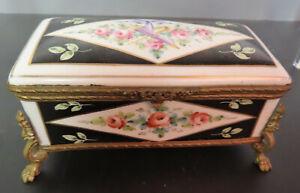 ANTIQUE SEVRES PORCELAIN, BRONZE JEWELRY BOX ca. 1790s