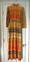 Vintage 60s 70s Vibrant Baroque Bold Print Maxi Long Dress Small Med.