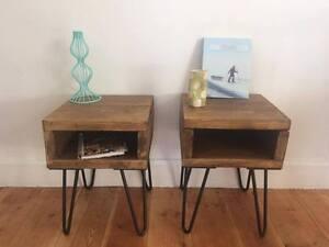 2 x Bedside tables Scaffolding Board Hairpin Legs Set
