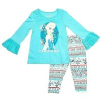 Disney Frozen Girls Long-Sleeved Shirt and Leggings Set - Sz 5,  6, or 6x