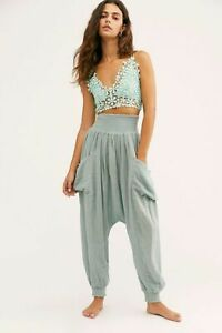 Free People Walk On Fire Hareem Pants Slouchy Size Medium New Tagged Turquoise