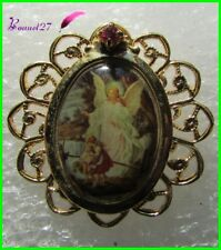 Pin's Image Sainte doré dentelle métal pierre brillante Ange enfant   #264