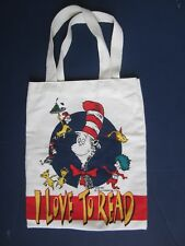 """Vintage 1997 Dr. Seuss """"I Love to Read"""" Cat in The Hat Canvas Tote Bag"""