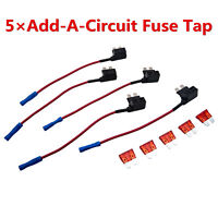 5Pcs 12V Standard Add A Circuit Fuse Tap Piggy Back Blade Holder Plug Car Sales