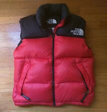THE NORTH FACE 550 FILL DOWN VEST Men's XS RED BLACK w HOOD & STOW POCKET vtg