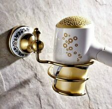 Gold Color Brass Wall-mounted Hair Dryer Bathroom Shelf Storage Hairdryer holder