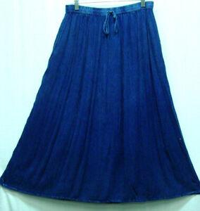 Skirt Renaissance Fair RenFair Old West Pioneer Mormon Trek one size Denim Blue
