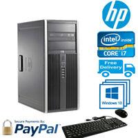 Hp Elite 8300 CMT Core i7-3770@3.4GHZ 16GB RAM, 2TB HDD,DVD/RW Win 10 Pro,Pc